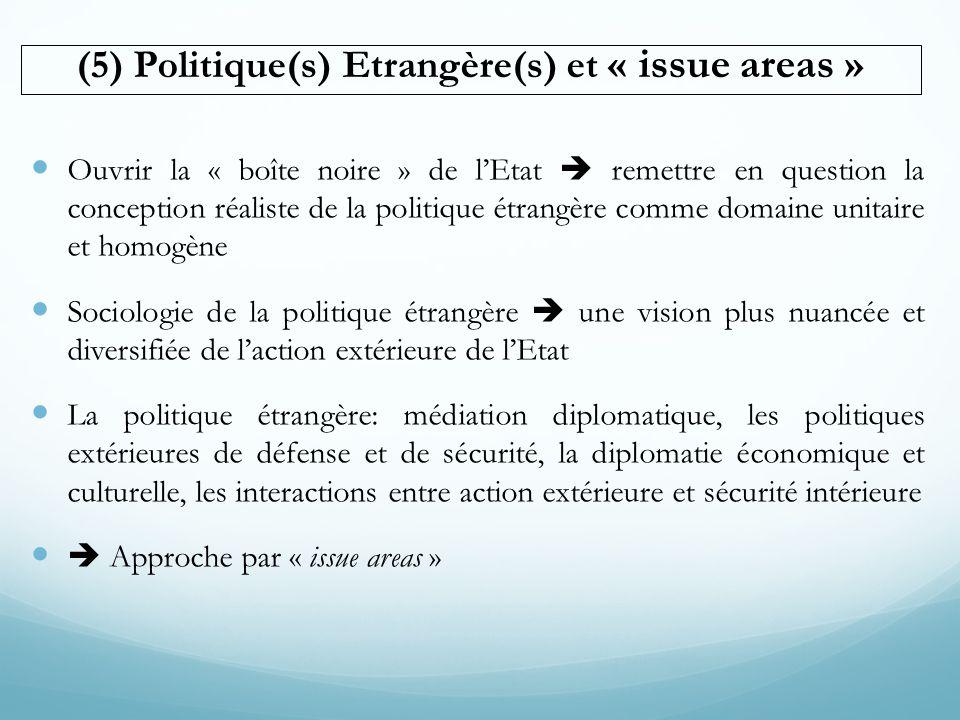 (5) Politique(s) Etrangère(s) et « issue areas » Ouvrir la « boîte noire » de lEtat remettre en question la conception réaliste de la politique étrang
