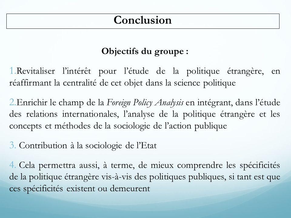 Conclusion Objectifs du groupe : 1. Revitaliser lintérêt pour létude de la politique étrangère, en réaffirmant la centralité de cet objet dans la scie