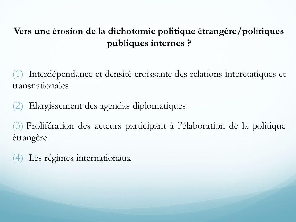 (1) Interdépendance et densité croissante des relations interétatiques et transnationales (2) Elargissement des agendas diplomatiques (3) Prolifératio