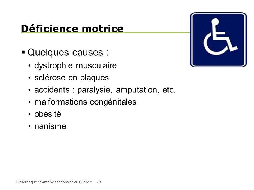10Bibliothèque et Archives nationales du Québec Déficience auditive Il existe plusieurs degrés de déficience auditive; différents usagers vont communiquer de différentes façons, selon la gravité de leur handicap et leurs préférences personnelles.