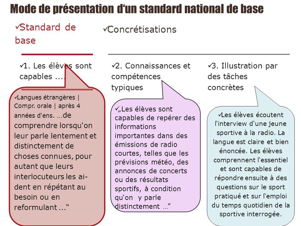 Mode de présentation dun standard national de base Standard de base 1.