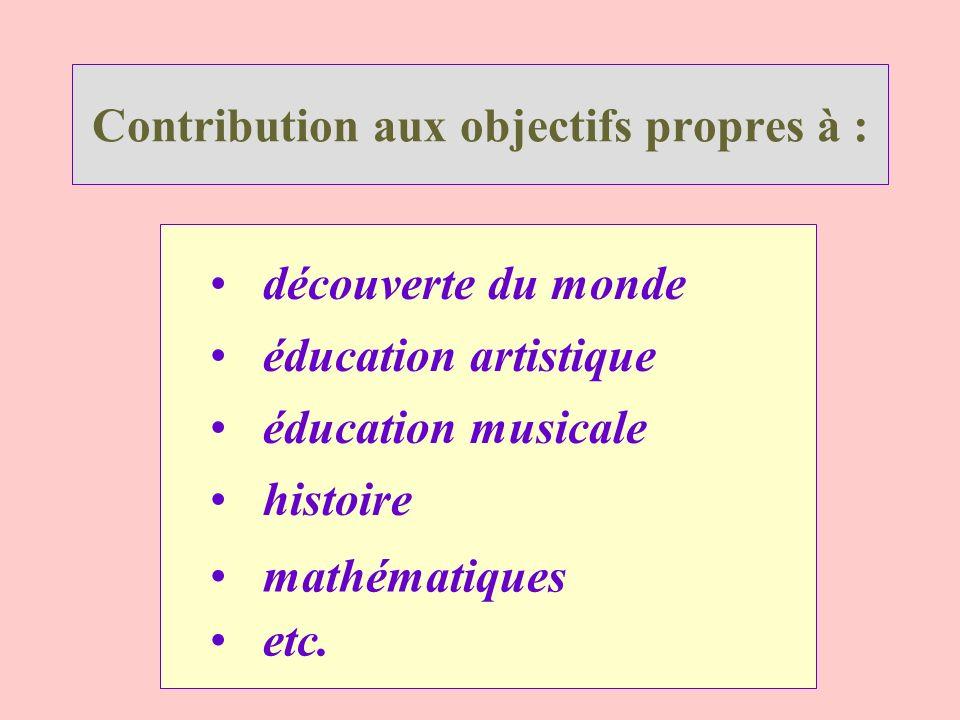 Contribution aux objectifs propres à : découverte du monde histoire éducation artistique éducation musicale mathématiques etc.