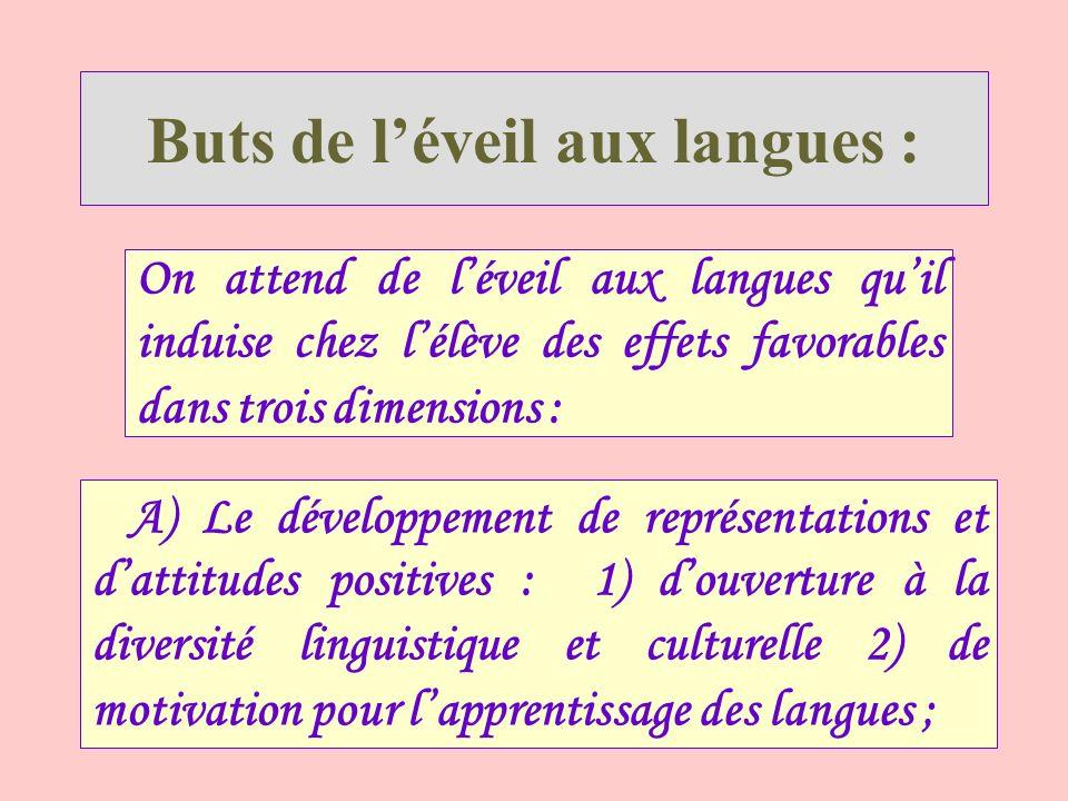 Buts de léveil aux langues : On attend de léveil aux langues quil induise chez lélève des effets favorables dans trois dimensions : A) Le développemen