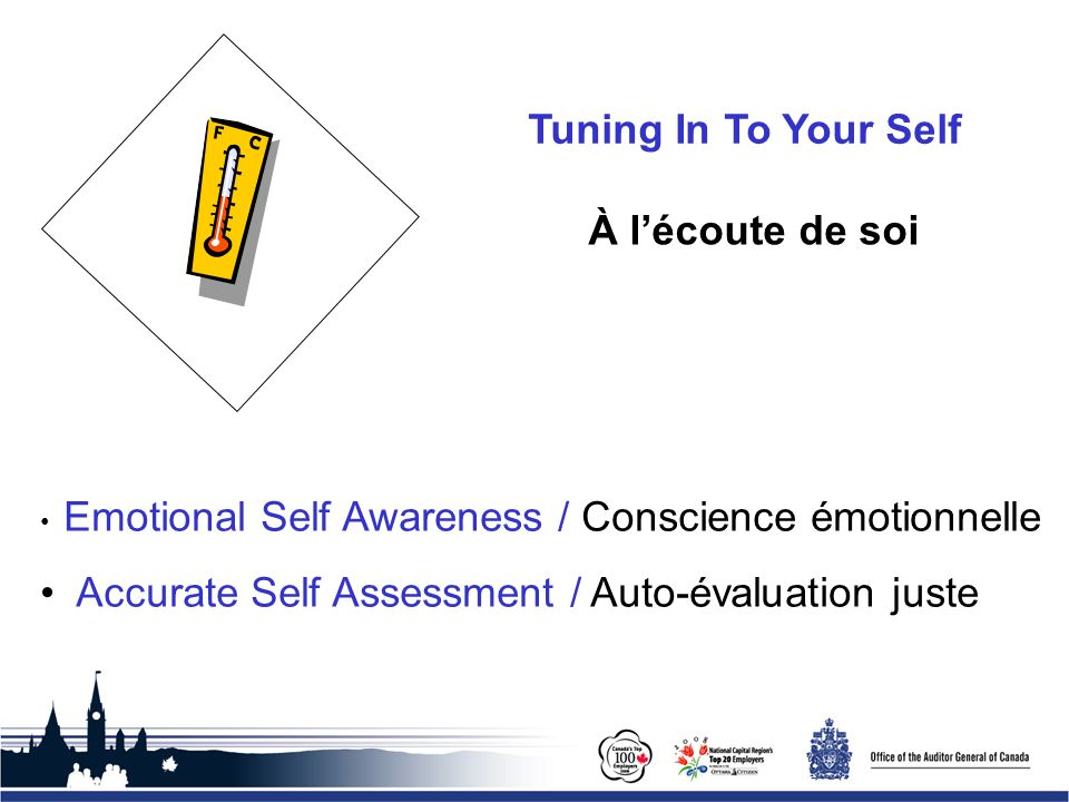 Office of the Auditor General of Canada Tuning In To Your Self Emotional Self Awareness / Conscience émotionnelle Accurate Self Assessment / Auto-éval