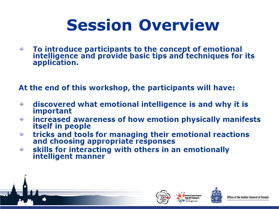 Office of the Auditor General of Canada Session Overview To introduce participants to the concept of emotional intelligence and provide basic tips and