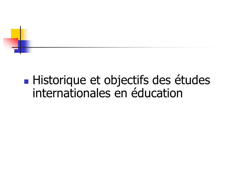 Historique et objectifs des études internationales en éducation