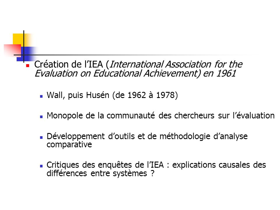 La fin du monopole de lIEA Réalisation dune enquête internationale sur les acquis des élèves concurrentielle à celle de lIEA par lEducational Testing Service de Princeton (ETS) : IAEP1 (International Assessment of Educational Progress) en 1988.