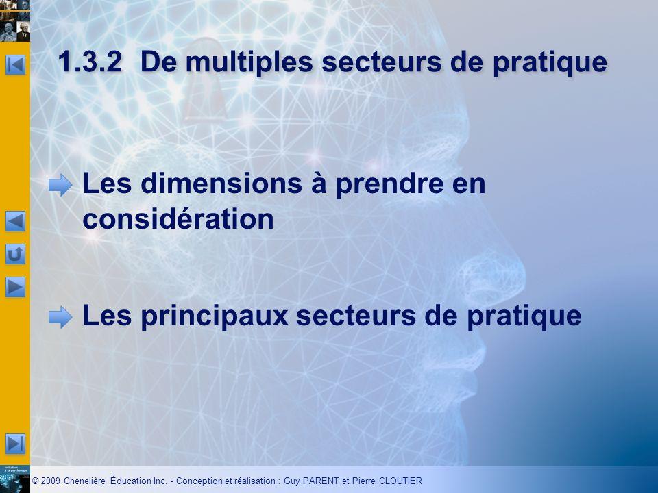 © 2009 Chenelière Éducation Inc. - Conception et réalisation : Guy PARENT et Pierre CLOUTIER 1.3.2De multiples secteurs de pratique Les dimensions à p