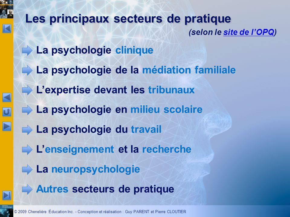 © 2009 Chenelière Éducation Inc. - Conception et réalisation : Guy PARENT et Pierre CLOUTIER Les principaux secteurs de pratique clinique La psycholog