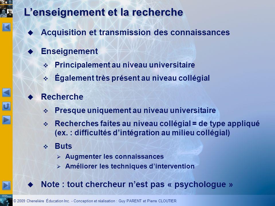 © 2009 Chenelière Éducation Inc. - Conception et réalisation : Guy PARENT et Pierre CLOUTIER Acquisition et transmission des connaissances Enseignemen