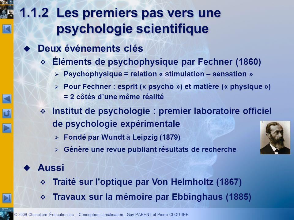 © 2009 Chenelière Éducation Inc. - Conception et réalisation : Guy PARENT et Pierre CLOUTIER Deux événements clés Éléments de psychophysique par Fechn
