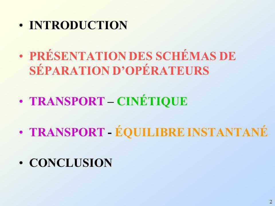 2 INTRODUCTION PRÉSENTATION DES SCHÉMAS DE SÉPARATION DOPÉRATEURS TRANSPORT – CINÉTIQUE TRANSPORT - ÉQUILIBRE INSTANTANÉ CONCLUSION