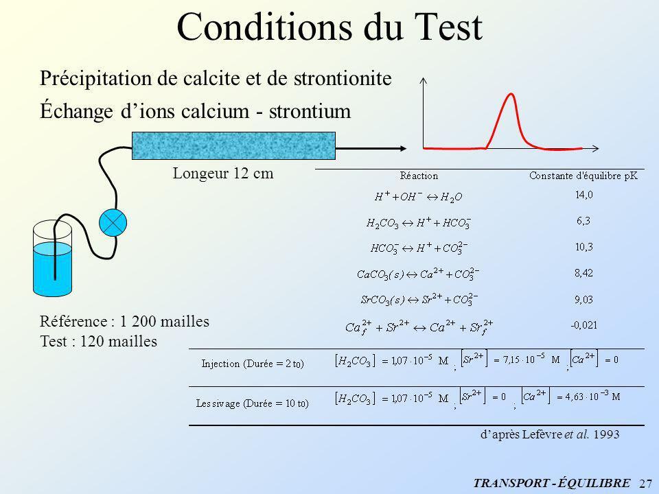 27 Conditions du Test daprès Lefèvre et al. 1993 Précipitation de calcite et de strontionite Échange dions calcium - strontium Longeur 12 cm Référence