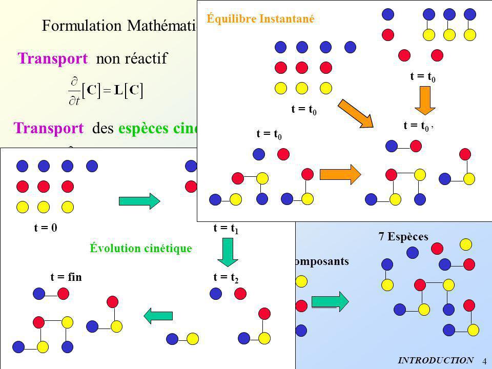 4 Formulation Mathématique INTRODUCTION Transport non réactif Convection Dispersion Transport des espèces cinétiques 7 Espèces Transport des concentra
