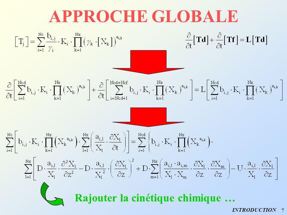 7 APPROCHE GLOBALE INTRODUCTION Rajouter la cinétique chimique …