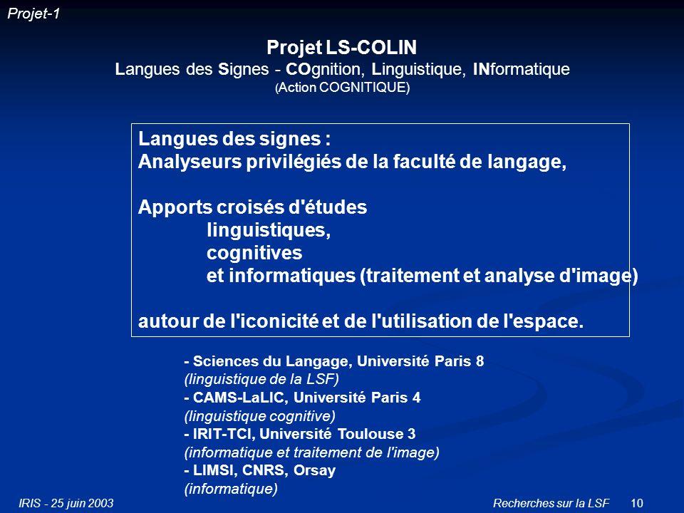 IRIS - 25 juin 2003Recherches sur la LSF10 Projet LS-COLIN Langues des Signes - COgnition, Linguistique, INformatique ( Action COGNITIQUE) - Sciences du Langage, Université Paris 8 (linguistique de la LSF) - CAMS-LaLIC, Université Paris 4 (linguistique cognitive) - IRIT-TCI, Université Toulouse 3 (informatique et traitement de l image) - LIMSI, CNRS, Orsay (informatique) Langues des signes : Analyseurs privilégiés de la faculté de langage, Apports croisés d études linguistiques, cognitives et informatiques (traitement et analyse d image) autour de l iconicité et de l utilisation de l espace.