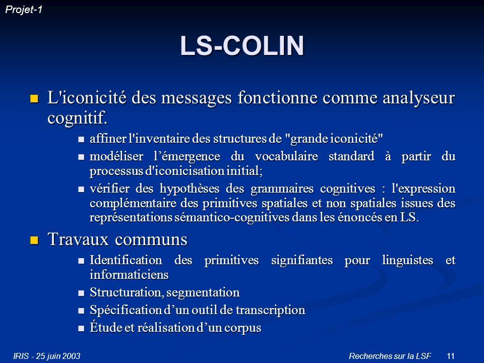 IRIS - 25 juin 2003Recherches sur la LSF11 LS-COLIN L iconicité des messages fonctionne comme analyseur cognitif.
