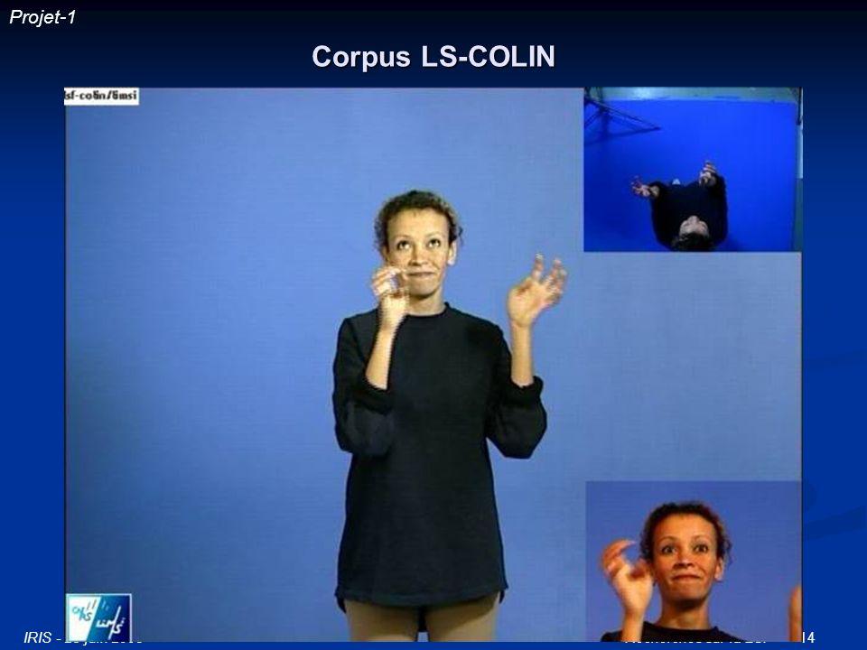IRIS - 25 juin 2003Recherches sur la LSF14 Corpus LS-COLIN Projet-1