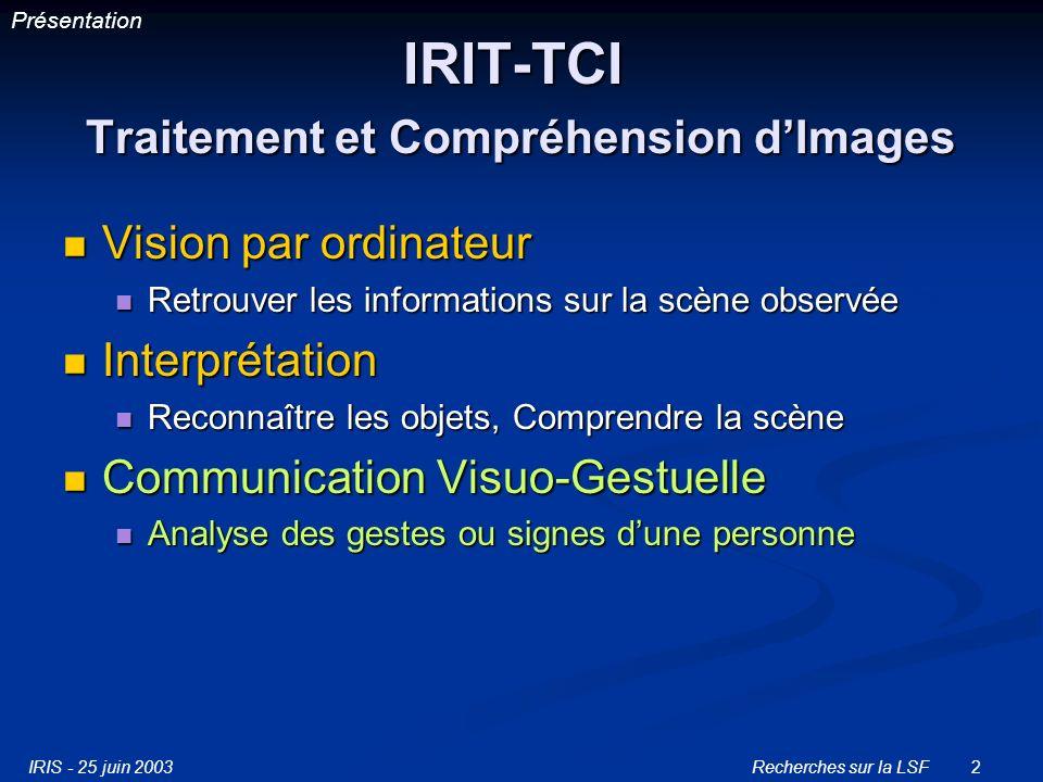 IRIS - 25 juin 2003Recherches sur la LSF13 Projet-1