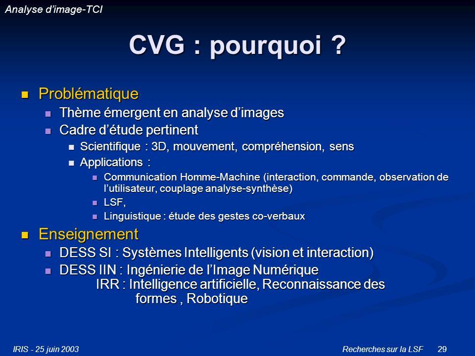 IRIS - 25 juin 2003Recherches sur la LSF29 CVG : pourquoi .
