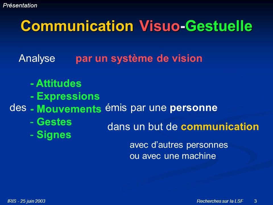 IRIS - 25 juin 2003Recherches sur la LSF3 Communication Visuo-Gestuelle Analysepar un système de vision - Attitudes - Expressions - Mouvements - Gestes - Signes des émis par une personne dans un but de communication avec dautres personnes ou avec une machine Présentation