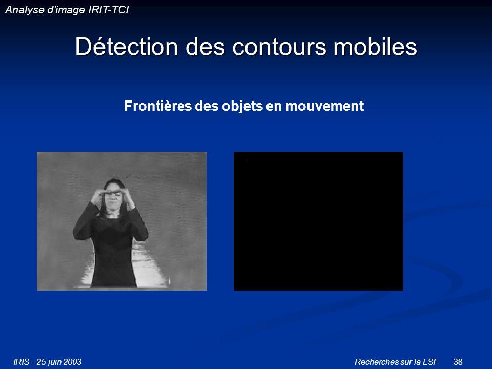 IRIS - 25 juin 2003Recherches sur la LSF38 Détection des contours mobiles Frontières des objets en mouvement Analyse dimage IRIT-TCI