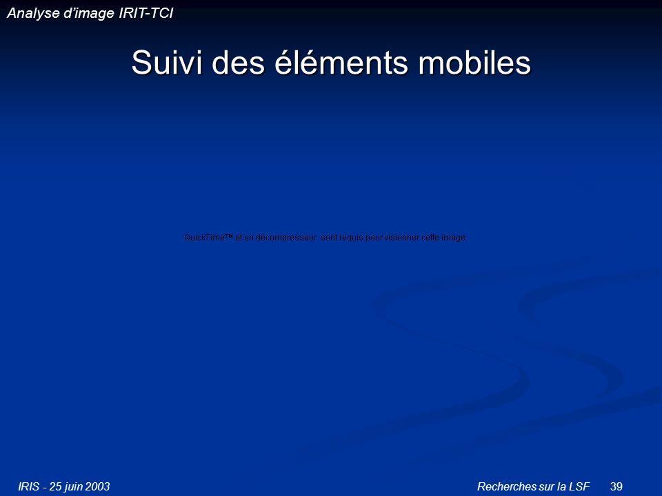 IRIS - 25 juin 2003Recherches sur la LSF39 Suivi des éléments mobiles Analyse dimage IRIT-TCI