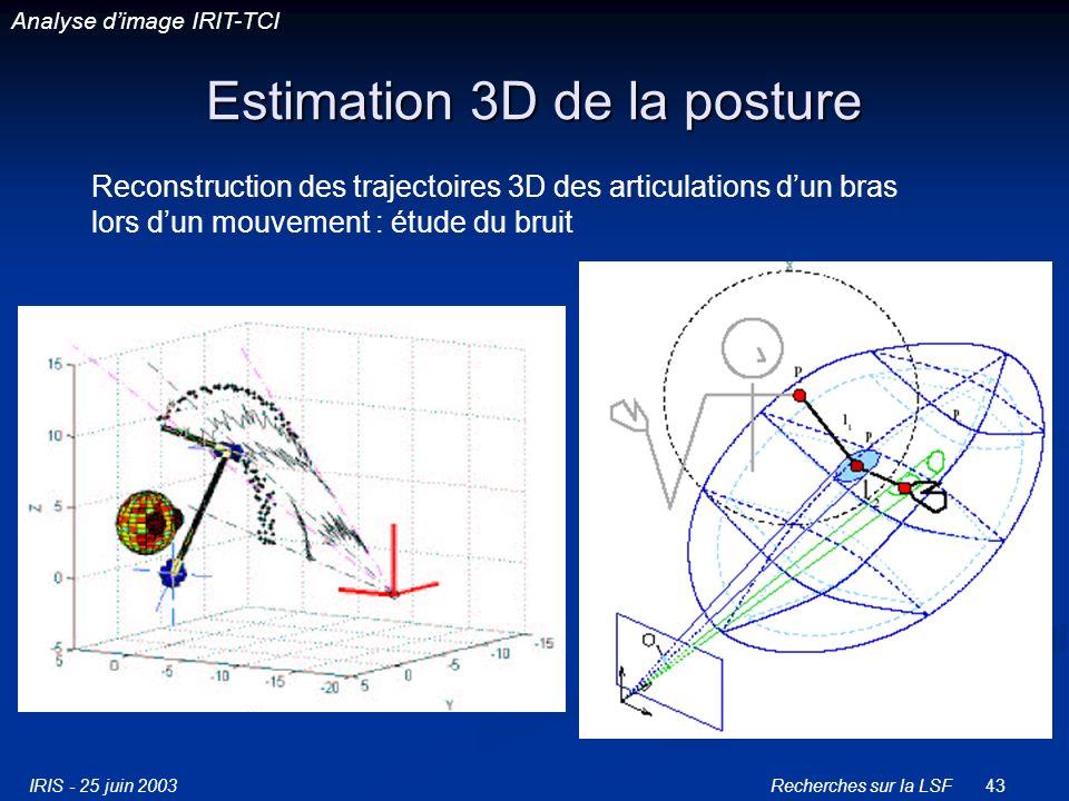 IRIS - 25 juin 2003Recherches sur la LSF43 Estimation 3D de la posture Reconstruction des trajectoires 3D des articulations dun bras lors dun mouvement : étude du bruit Analyse dimage IRIT-TCI