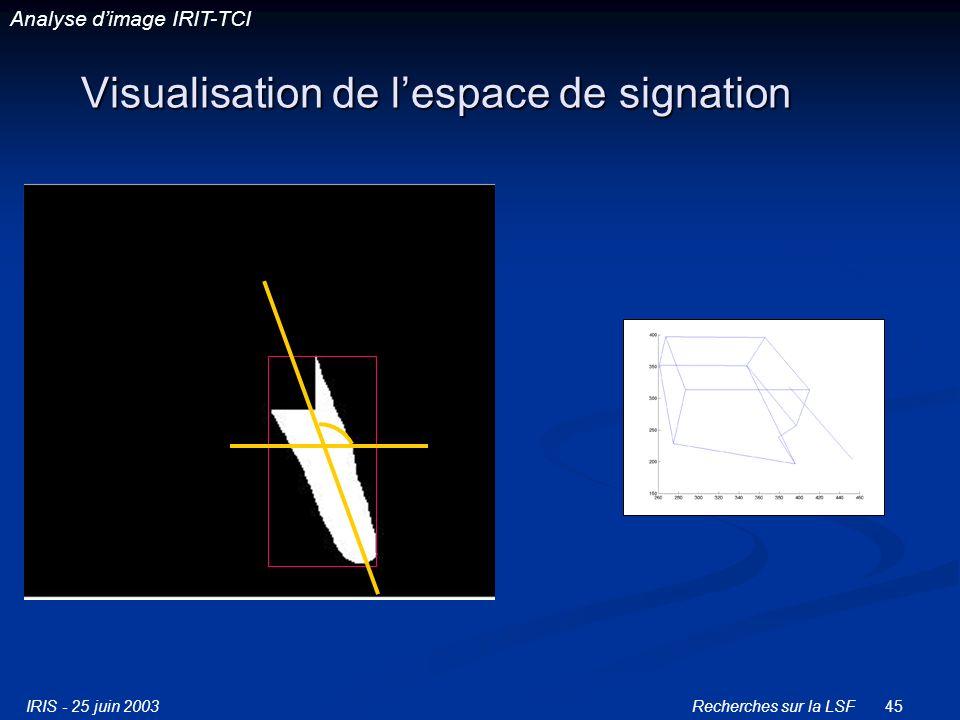 IRIS - 25 juin 2003Recherches sur la LSF45 Visualisation de lespace de signation Analyse dimage IRIT-TCI