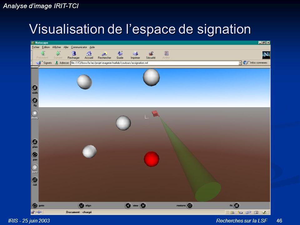 IRIS - 25 juin 2003Recherches sur la LSF46 Visualisation de lespace de signation Analyse dimage IRIT-TCI