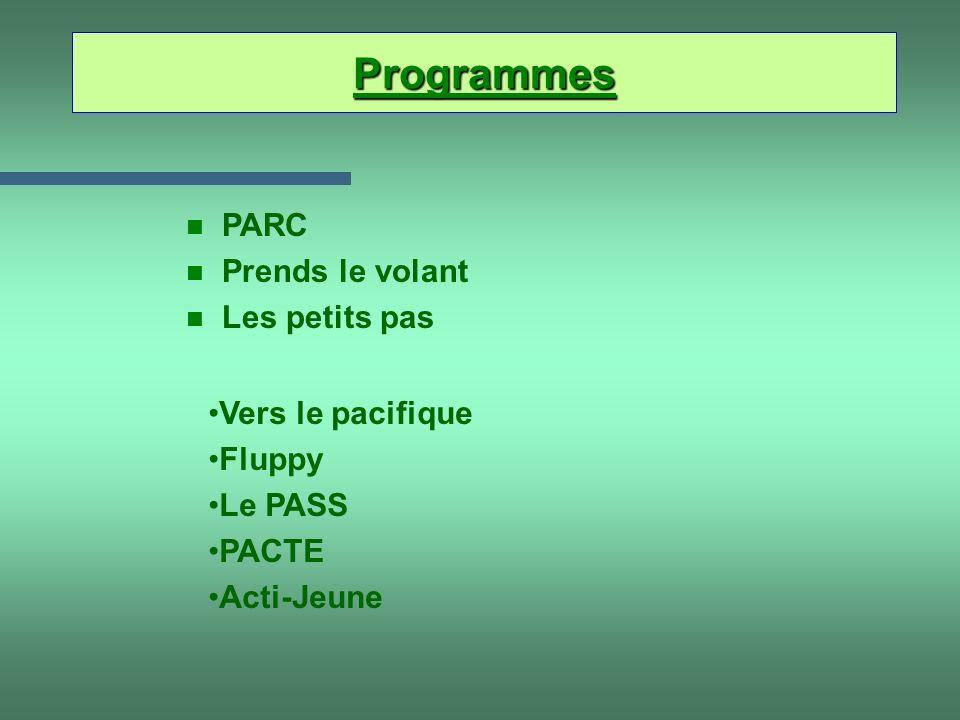 Programmes n PARC n Prends le volant n Les petits pas Vers le pacifique Fluppy Le PASS PACTE Acti-Jeune
