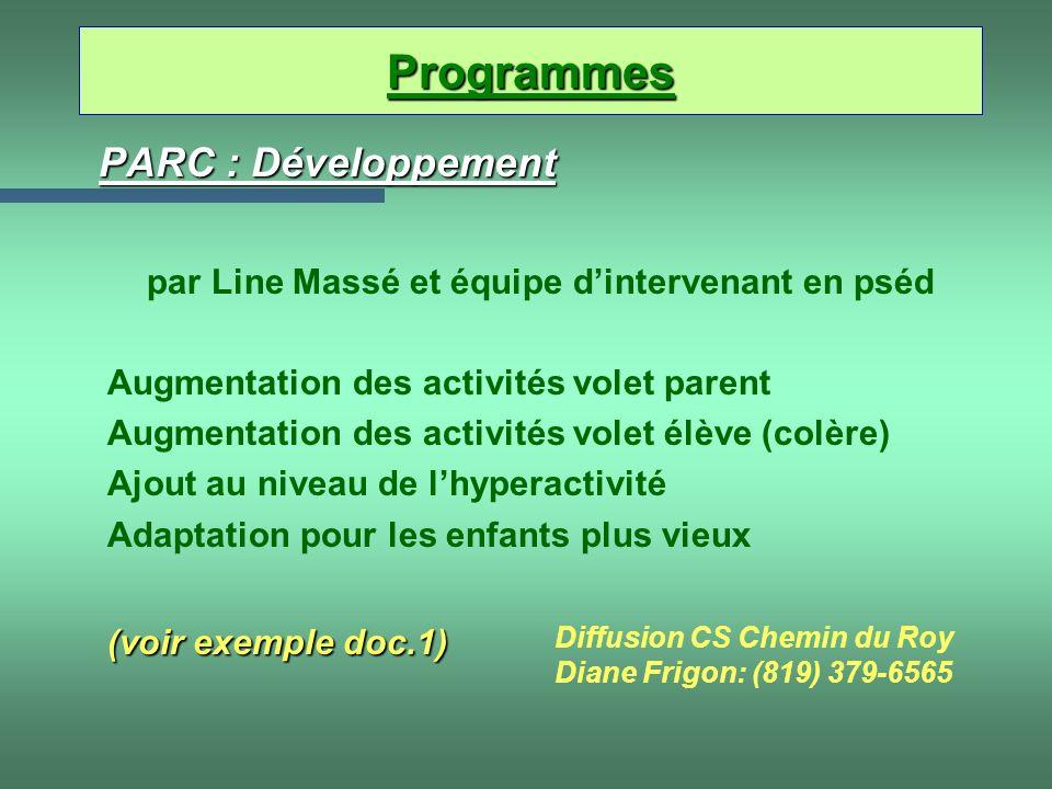 PARC : Développement par Line Massé et équipe dintervenant en pséd Augmentation des activités volet parent Augmentation des activités volet élève (col