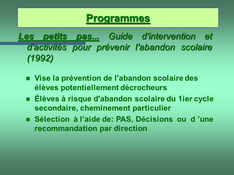 Les petits pas... Guide d'intervention et d'activités pour prévenir l'abandon scolaire (1992) n Vise la prévention de l'abandon scolaire des élèves po