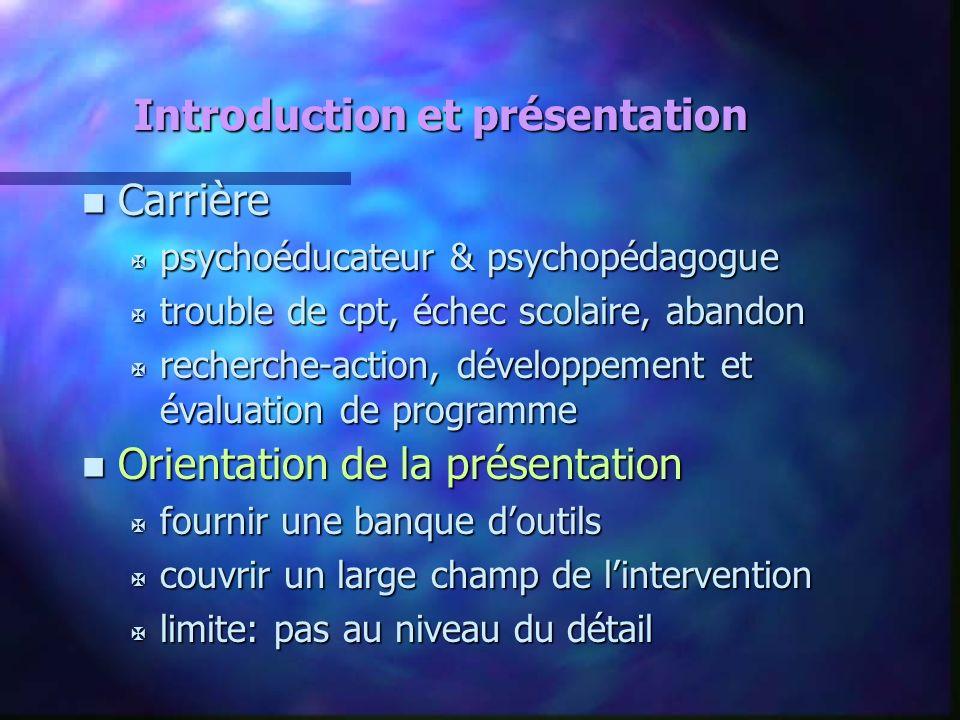 Introduction et présentation n Carrière X psychoéducateur & psychopédagogue X trouble de cpt, échec scolaire, abandon X recherche-action, développemen