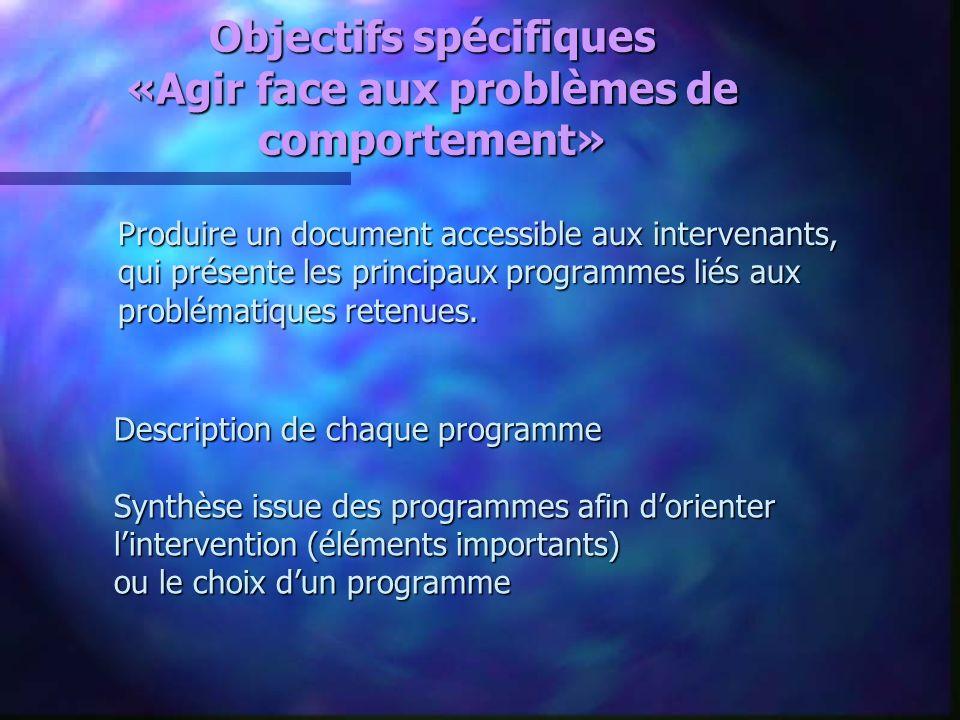 Objectifs spécifiques «Agir face aux problèmes de comportement» Produire un document accessible aux intervenants, qui présente les principaux programm