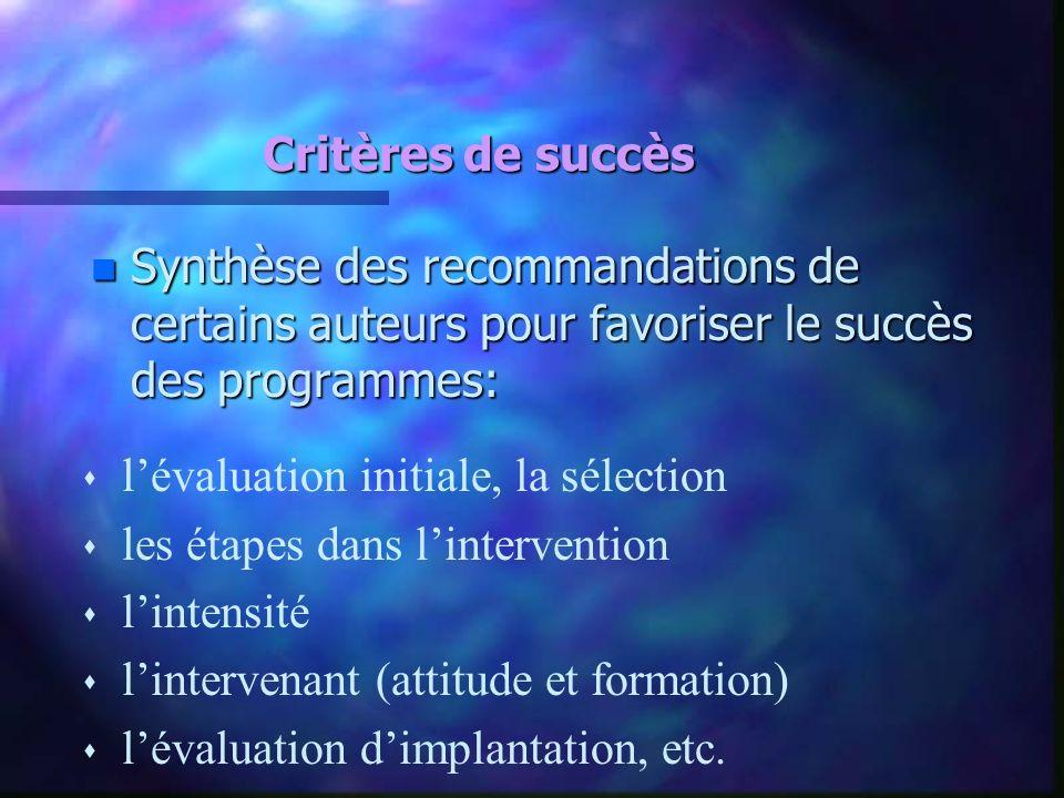 Critères de succès n Synthèse des recommandations de certains auteurs pour favoriser le succès des programmes: s lévaluation initiale, la sélection s
