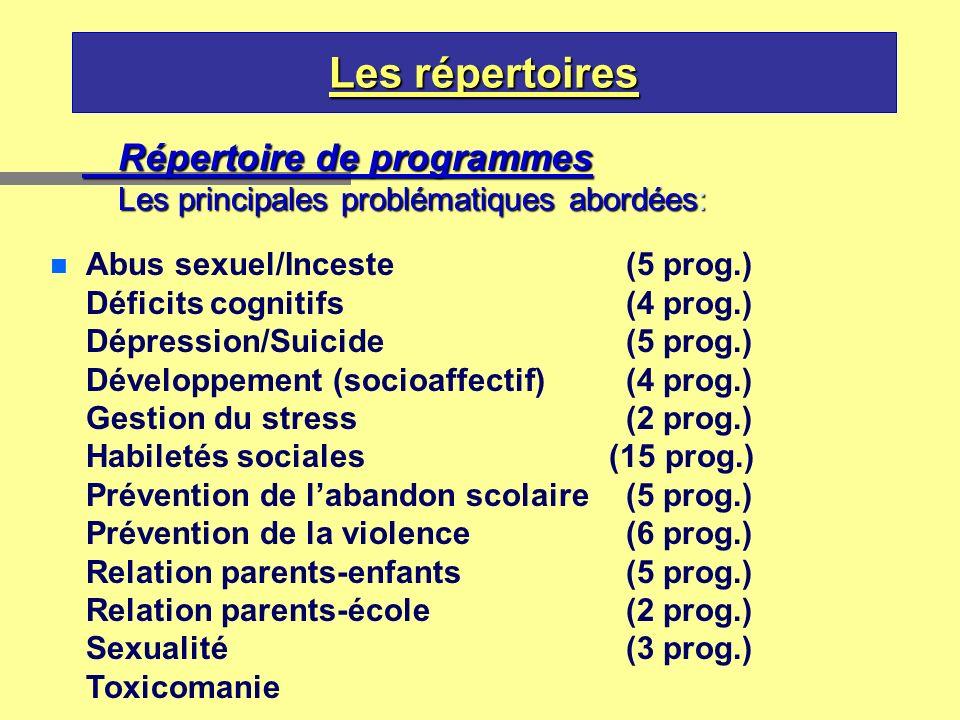 Les répertoires Répertoire de programmes Les principales problématiques abordées: n Abus sexuel/Inceste(5 prog.) Déficits cognitifs(4 prog.) Dépressio