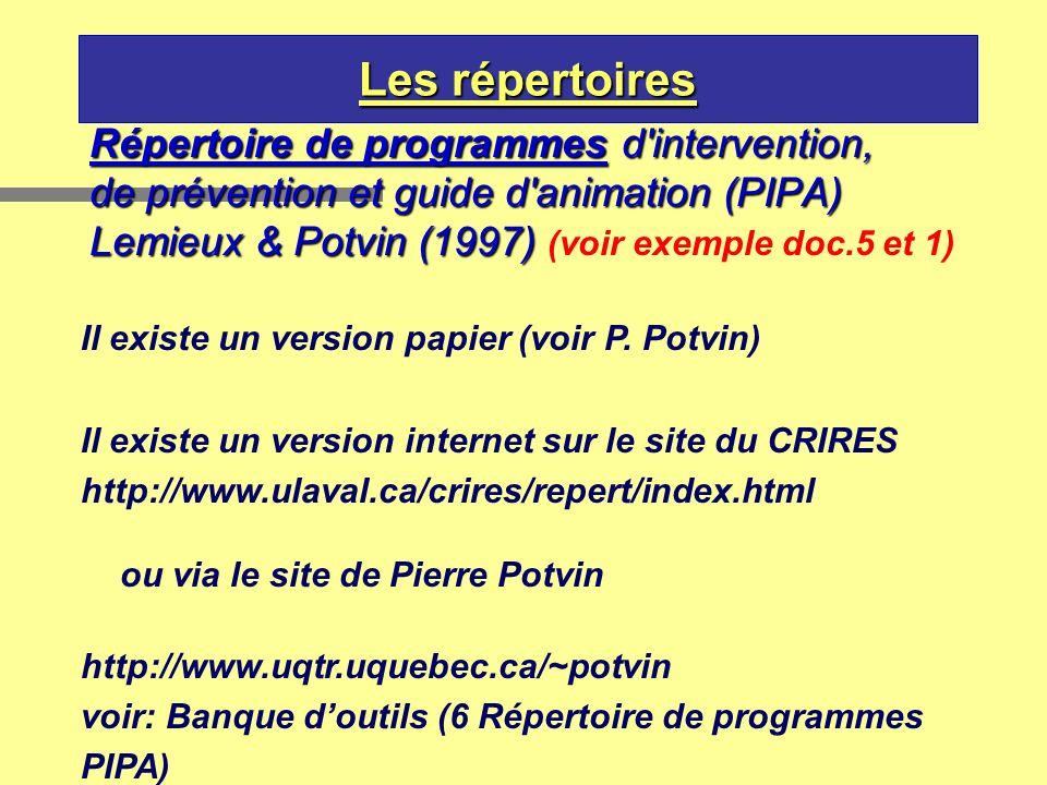 Les répertoires Répertoire de programmes d'intervention, de prévention et guide d'animation (PIPA) Lemieux & Potvin (1997) Lemieux & Potvin (1997) (vo