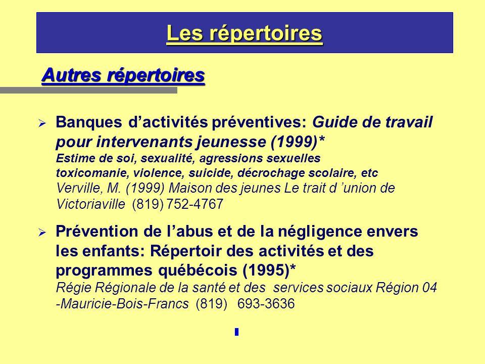 Les répertoires Autres répertoires Banques dactivités préventives: Guide de travail pour intervenants jeunesse (1999)* Estime de soi, sexualité, agres