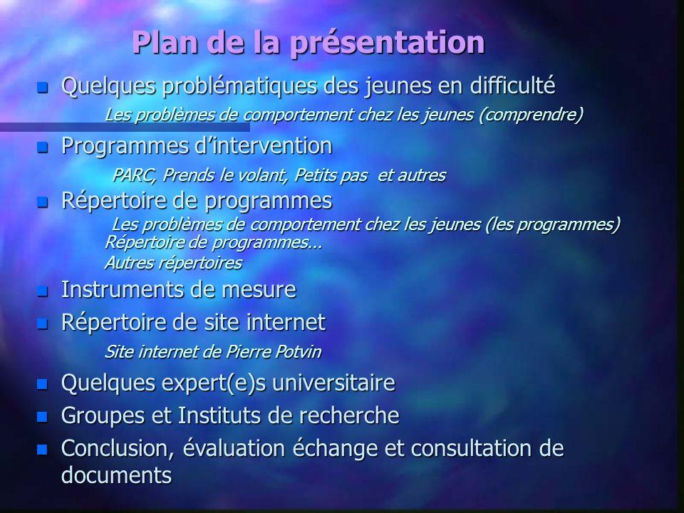 Plan de la présentation n Quelques problématiques des jeunes en difficulté Les problèmes de comportement chez les jeunes (comprendre) n Programmes din
