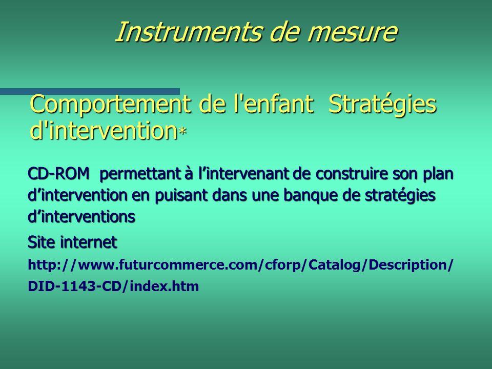 Instruments de mesure Comportement de l'enfant Stratégies d'intervention * CD-ROM permettant à lintervenant de construire son plan dintervention en pu