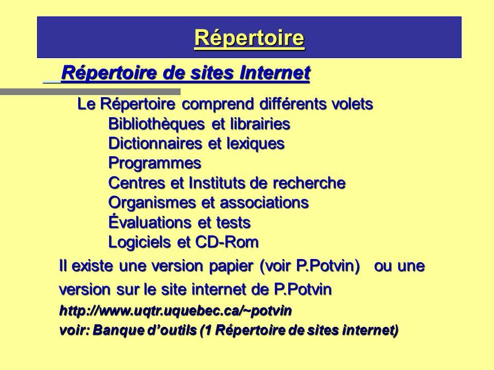 Répertoire Répertoire de sites Internet Le Répertoire comprend différents volets Bibliothèques et librairies Dictionnaires et lexiques Programmes Cent