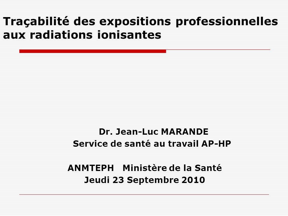 Traçabilité des expositions professionnelles aux radiations ionisantes Dr. Jean-Luc MARANDE Service de santé au travail AP-HP ANMTEPH Ministère de la