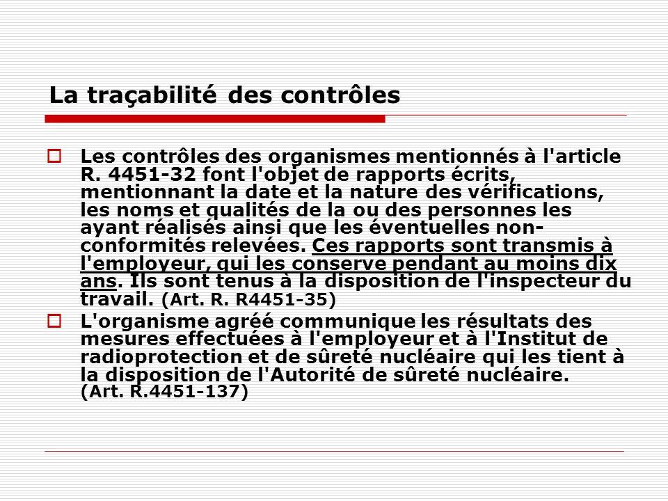 La traçabilité des contrôles Les contrôles des organismes mentionnés à l'article R. 4451-32 font l'objet de rapports écrits, mentionnant la date et la