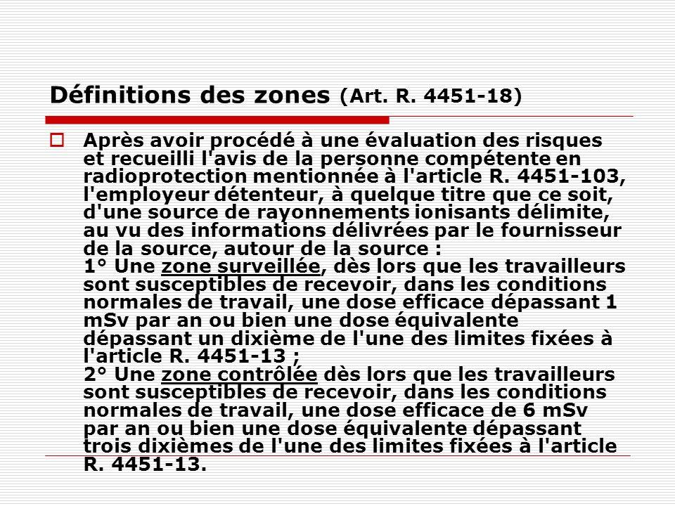 Définitions des zones (Art. R. 4451-18) Après avoir procédé à une évaluation des risques et recueilli l'avis de la personne compétente en radioprotect