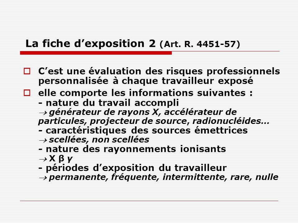 La fiche dexposition 2 (Art. R. 4451-57) Cest une évaluation des risques professionnels personnalisée à chaque travailleur exposé elle comporte les in