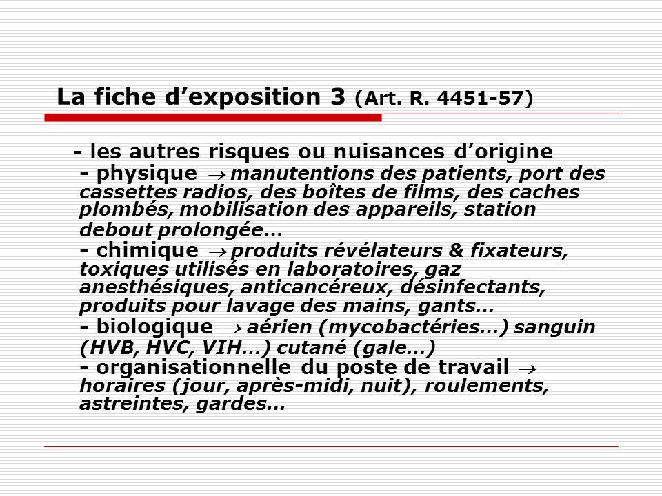 La fiche dexposition 3 (Art. R. 4451-57) - les autres risques ou nuisances dorigine - physique manutentions des patients, port des cassettes radios, d