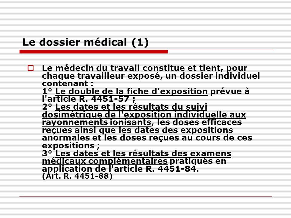 Le dossier médical (1) Le médecin du travail constitue et tient, pour chaque travailleur exposé, un dossier individuel contenant : 1° Le double de la