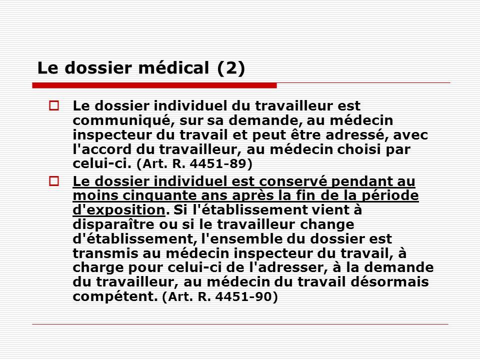 Le dossier médical (2) Le dossier individuel du travailleur est communiqué, sur sa demande, au médecin inspecteur du travail et peut être adressé, ave