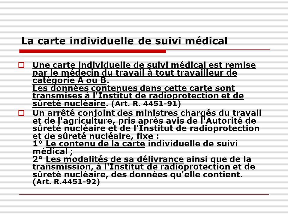 La carte individuelle de suivi médical Une carte individuelle de suivi médical est remise par le médecin du travail à tout travailleur de catégorie A